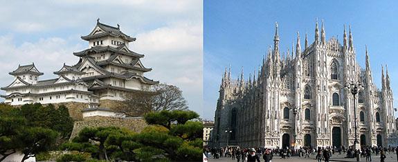 Япония и Европа, монументальные сооружения