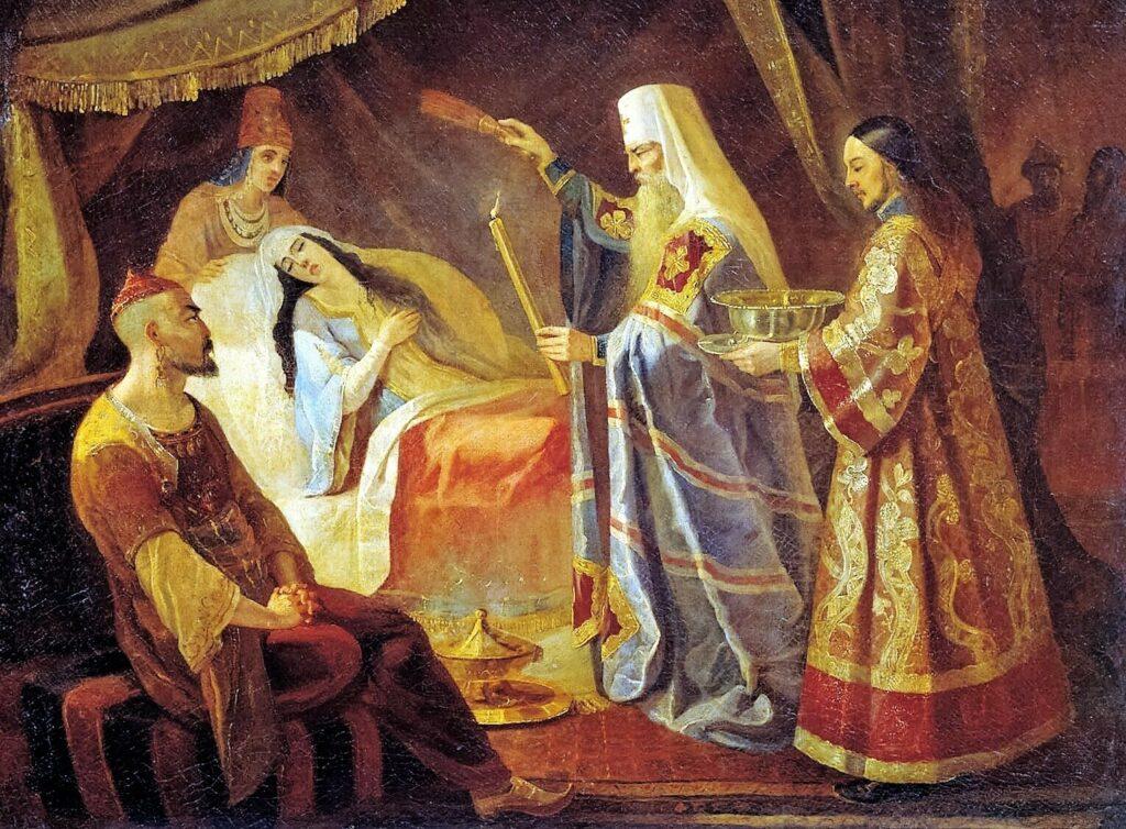 Святитель Алексий исцеляет ханшу Тайдулу.